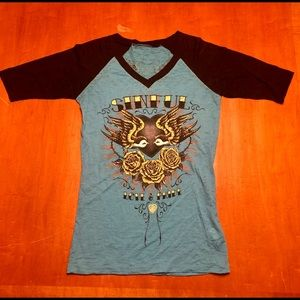 Sinful Short Sleeve Blue Top with Rhinestones